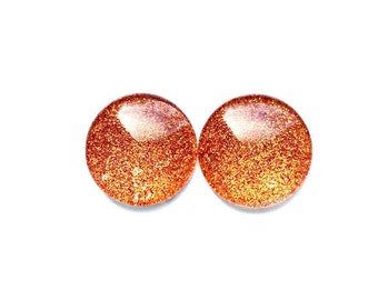 Glass magnets - sparkle magnets - glitter magnets - orange magnets - orangedecor - fridge magnets - office decor - classroom decor