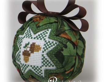 Fall Ornament - Quilted Fall Ornament - Acorns / Crisp Days of Fall - Quilted Ball