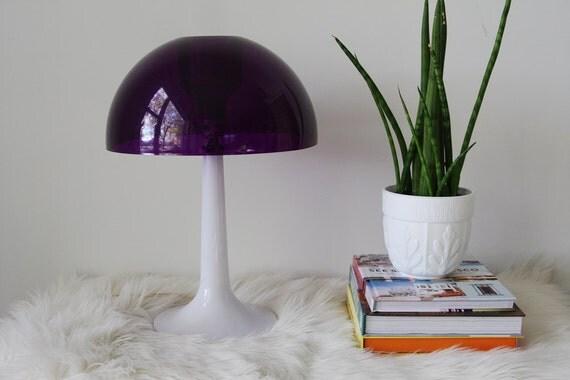 Mid Century Gilbert Purple Mushroom Lamp