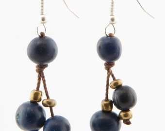 Acai Seed Earrings / Navy Blue Earrings / Acai Seed Jewelry / Acai Earrings / Fair Trade / Seed Jewelry / Seed Earrings