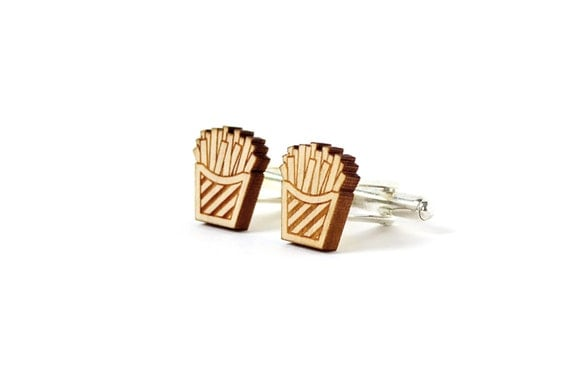 Fries cufflinks - chips cufflinks - fast food wedding accessory for the groom - lasercut maple wood - kitsch gift for men - father's day