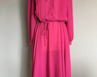 Vintage FUCHSIA PINK MIDI Dress/size Small
