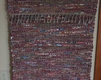 """Hand Woven Rag Rug - Burgundy Brown Cotton 24"""" x 60"""""""
