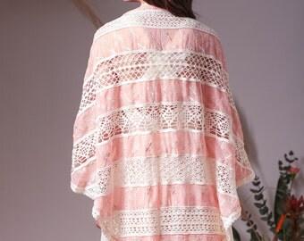 Bohemian wedding triangle shawl,Rose shawl,Wedding cover up,Boho wedding,Romantic shawl,Crocheted shawl,Shawl wrap,Bohemian wedding shawl