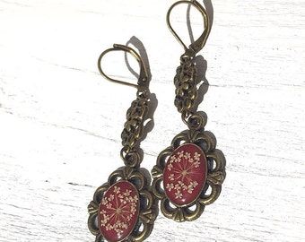 Maroon earrings, victorian jewelry, unique gift for women, drop earrings, Real Flower jewelry, handmade earring, cool gift for girlfriend
