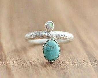 Sterling Silver Turquoise and Opal Ring // Dual Stone Ring // Sterling Silver Turquoise Ring // Gift for Her // Two Stone Ring // Turquoise