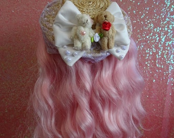 Hime Lolita Grand Wedding Bears Pearl Duchess Bow Lavender Lace Mini Boater Hat