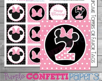 Minnie Mouse Cupcake Toppers, Minnie Cupcake Topper, Minnie Second Birthday, Minnie 2nd Birthday, Minnie Favor Tags, Pink, Black, Printable