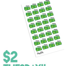 Payday stickers, Pay day stickers, Green payday stickers, payday stickers, pay day stickers, planner stickers, two dollar tuesday