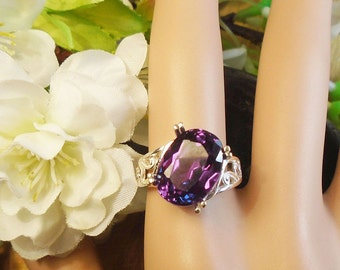 Alexandrite Ring, June Birthstone, Solid Sterling Silver, 8.90Cts Facet 14 x10 mm Natural Alexandrite Color Changing Gem