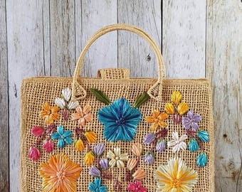 Collection of 3 Floral RAFFIA STRAW PURES