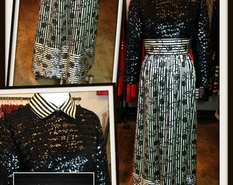 Vintage Black White Stripe Satin Sequin Long Maxi Dress Victor Costa FREE SHIPPING