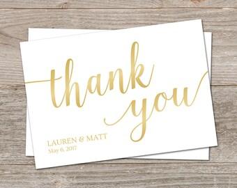 Simple Thank You Cards Printable // Gold Wedding Thank You Template // Gold Thank You Cards, Printable Thank You, Editable