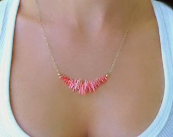 Pink Coral Necklace, Coral Strand Necklace, Coral Bridesmaid Jewelry, Beach Necklace, Coral Wedding Necklace, Bridesmaid Gift For Her