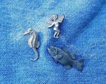Vintage 1980's Silver Animal Creature Assortment Lapel Pin Brooch Bass Cherub Seahorse