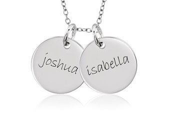 Two Medium POSH Mommy Sterling Silver Engraved Discs