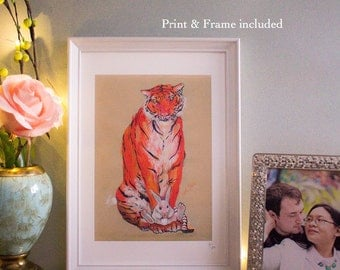 Framed Tiger Print - Tiger and Rabbit A4 Illustration Print - Home Decor - Wall Art - Wooden frame 21 x 30cm - Valentines- gift
