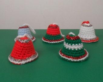 Handmade Crochet Christmas Bell Ornaments - 5 Colorful Handmade Holiday Ornaments - Free US Shipping