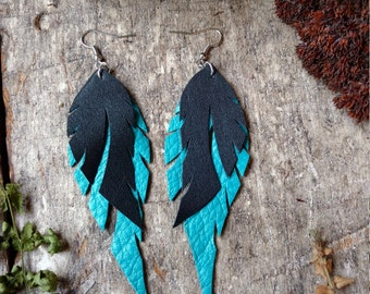 Recycled Leather Feather Earrings In Turquoise and Black