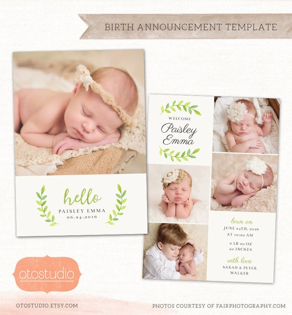 birth announcement template photo collage watercolor greens. Black Bedroom Furniture Sets. Home Design Ideas