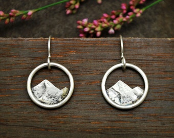 Simple Mountain Hoops - Sterling Silver Dangles - Everyday Earrings - Minimalist Mountain Range Earrings - Hiking Nature Lovers Gift