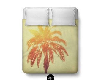 Golden Palm - Duvet Cover, Red & Orange Tropical Palm Tree Decor, Yellow Ombre Bedding Beach Surf Boho Chic Duvet. In Twin Full Queen King