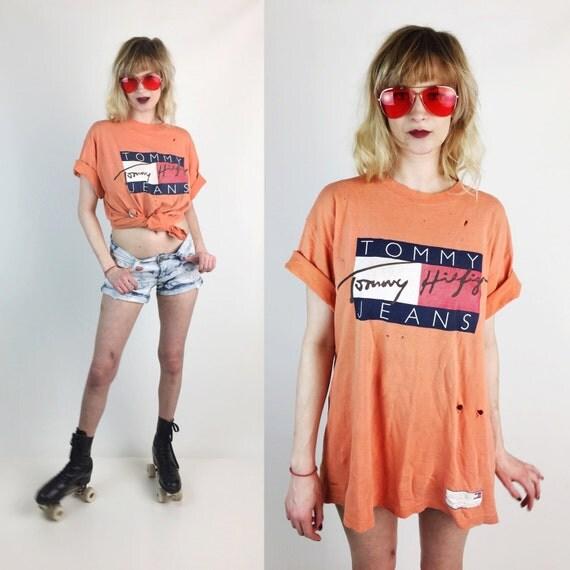 90's Tommy Hilfiger Distressed LOGO Tee - Large Holey Grunge Tommy Tshirt - Orange Tommy Jeans Vintage Shirt - Hip Hop 90's UNISEX Grunge