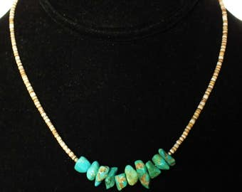 70s Large Turquoise Nugget and Shell Heishi Necklace Boho Tribal Choker