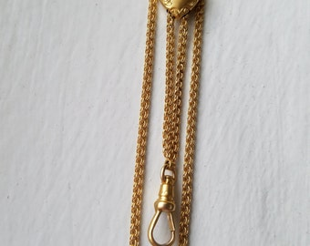 Antique Victorian 14K Solid Gold Long Guard Chain, Pocket Watch Chain, Rococo Repousse Heart Seed Pearl Slide, 54 Inches