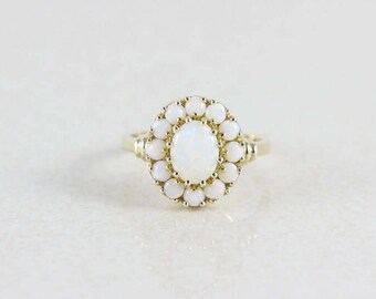 10k Yellow Gold Natural Opal Cluster Ring Size 6 3/4