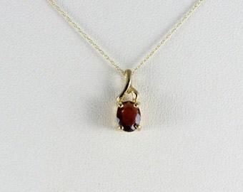 14K Yellow Gold Garnet Necklace 18 inch chain 1.25 carat Garnet