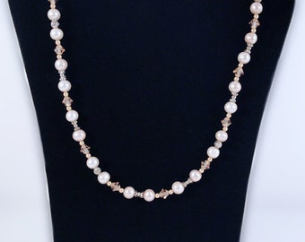 Genuine Pearl and Swarovski Crystal Necklace with Gold Filled Filigree Fish Hook Clasp - Wedding Jewelry