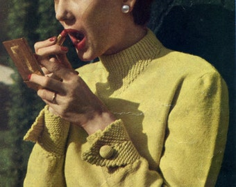 Knitting Pattern from Vintage Mon Tricot magazine: 1950's Parisian Sweater-