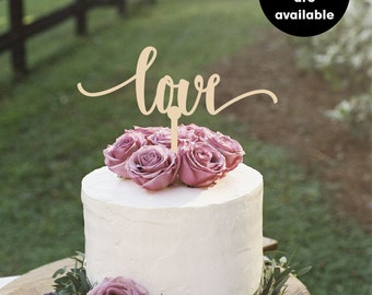 Love Cake Topper, Gold Cake Topper, Silver Cake Topper, Wedding Cake Toppers, CT-10