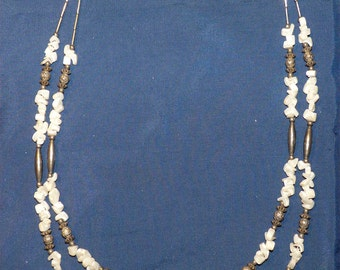 "Authentic SANTO DOMINGO PUEBLO Native American 26"" Heishi Beads, M.O.P. and Liquid Silver Pipes Necklace"