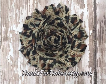 Animal Printed Shabby Chic Flower Hair Clip, Cheetah Flower Alligator Clip, Hair Bow, Leopard Hair Clip, Flower Barrette, Headband Clip, Bow