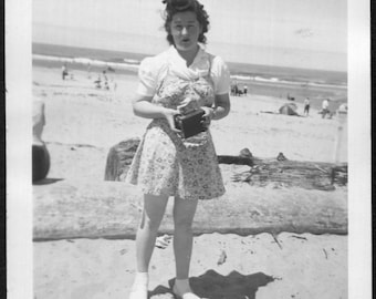 Vintage Photo of Girl With Camera At Rockaway Beach Oregon, 1950's Original Found Photo, Vernacular Photography
