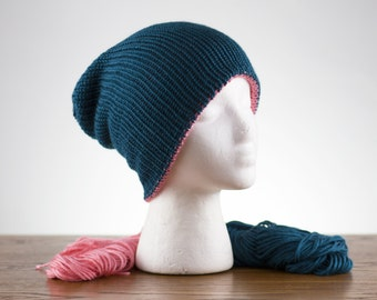 Slouchy Beanie - 48 colors available - Reversible Beanie - Pink Beanie - Blue Beanie - Womens Hats - Mens Beanies - Unisex - Snowboard Gear