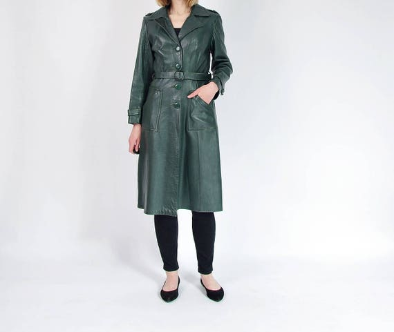 SALE - 70s County Real Leather Emerald Green Women's Street Style Fitted Coat / Size 38 (M/L)