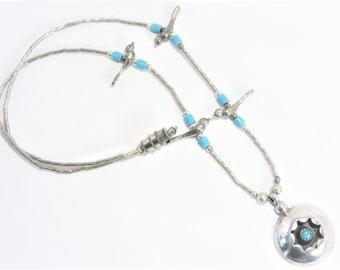 Vintage Southwestern Sterling Shadowbox Pendant Bird Necklace