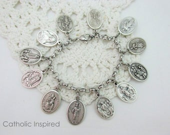 Jesus and Marian Medals - Choose One - Our Lady Mary Queen Messiah Trinity God Purgatory -Add to Bangle Necklace Bracelet Jewelry Key Chain!
