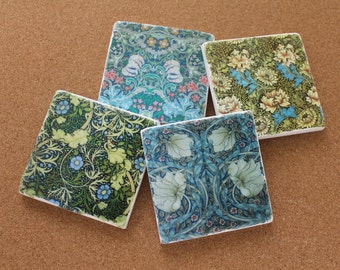 Set of 4 Tumbled Marble Tile Coasters - William Morris Floral Designs II