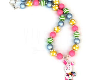 Chunky Necklace - Bubblegum Necklace - Pig Necklace - Pig Jewelry - Pig Birthday Party - Pig Costume - Little Piggy - Piggy Birthday
