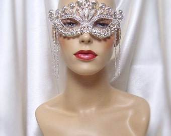 Crystal Rhinestone Masquerade Mask, Mardi Gras Mask, Masquerade Ball Mask, Bridal Mask, Crown Mask
