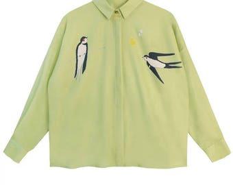 Fine Art collection light blue/green Swallow spring shirt