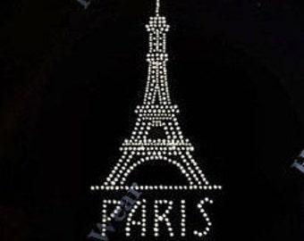 """Rhinestone Transfer """" All Crystal Paris Eiffel Tower"""" Hotfix, Iron On, Bling,"""