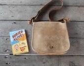 RARE !Vintage COACH No.202-2642 Beige Cream , Beige Tan Leather Shoulder Bag , Messenger Bag / Large / Authentic / Made in New York City USA