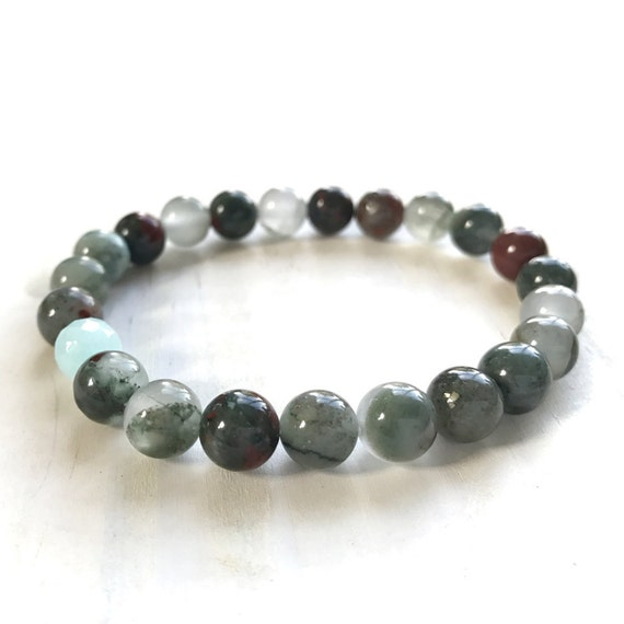Bloodstone Mala Bracelet, Bloodstone For Courage, Stretch Bracelet, Yoga Jewelry, Match Your Mala Necklace