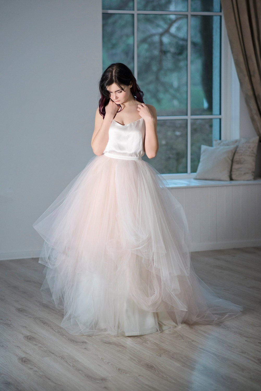 Magnolia tulle wedding skirt bridal tulle skirt blush for Wedding dresses with tulle skirts