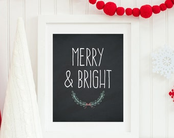 Merry and Bright Printable Merry & Bright Print Christmas Decor Christmas Wall Art  Christmas Decoration Holiday Wall Art Winter Chalkboard